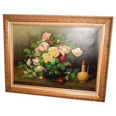 Late Victorian oil on canvas painting still life--roses