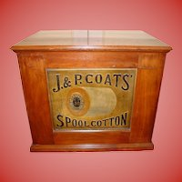 J & P Coats 6 drawer spool thread cabinet embossed thread back
