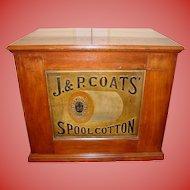 J & P Coats 6 drawer spool thread cabinet embossed thread back