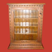 Unusual oak display case cabinet wall or counter