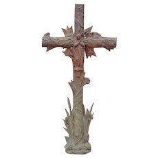 Virgin Mary cast iron cross----large antique--with cat tails etc