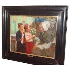 Oil on canvas Grandmother's birthday by Joseph Jost