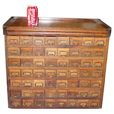 Antique Neat 56 drawer oak cabinet case