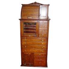 Antique Quartered oak Harvard multi drawer dental cabinet