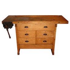 Smaller size antique woodworker's bench & vise