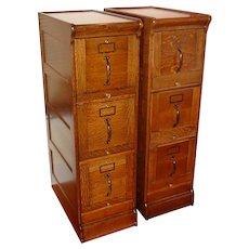Matching pair antique GLOBE quarter sawn oak file cabinets