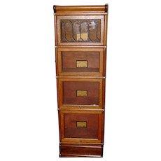 Leaded glass door quartered oak half size barrister bookcase