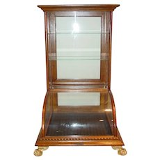 Exceptional Oak curved glass table top counter top showcase