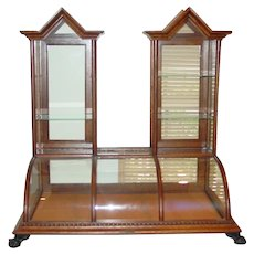 Exceptional oak twin tower cathedral table top showcase