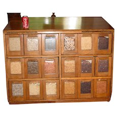 Antique Neat oak 18 drawer bean or seed cabinet