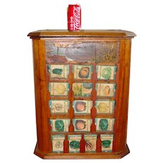 Antique L.L. May country store seed display case