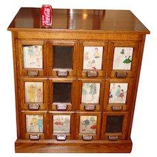 Antique Oak 12 glass front drawer cabinet--pattern cabinet