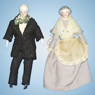 Antique Pair of German Doll House dolls, Grandparents