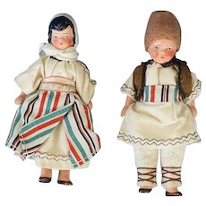 Pair Hertwig Painted All Bisque International Dolls