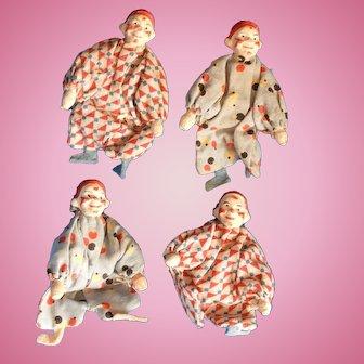Set of 4 Antique German Miniature Clowns