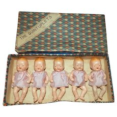 Japanese All Bisque Quintuplet Dolls in Original Box