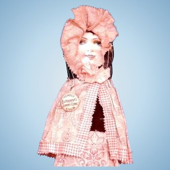 Dolly Varden Cloth Doll with Chromolithographed Paper Face
