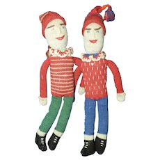 Pair of Antique Knitted Dolls