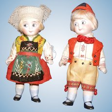 Pair of All Bisque Googly Dolls in Swedish Costumes