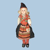 Celluloid Doll Original Ethnic Swedish Costume, Kimport
