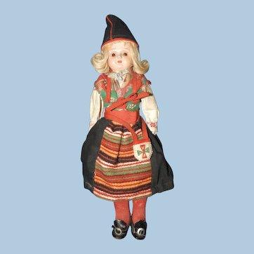 Celluloid Doll Original Ethnic Swedish Costume, Kimport