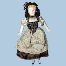 Cabinet- Sized Bisque Doll in Swiss Costume