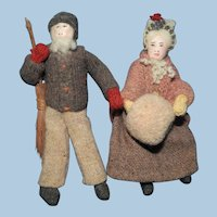 Cloth and Wool Elderly Couple Dolls from New Brunswick, Kimport