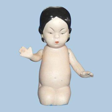 Antique All Bisque Asian Kneeling Girl, Hertwig