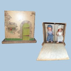 Boxed Playhouse Freundlich Pair of Composition Dolls
