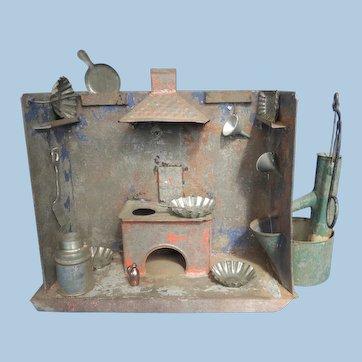 Antique  Doll's Tin Kitchen