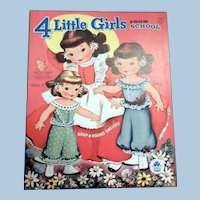 Merrill Four Little Girls From School Paper Dolls, uncut
