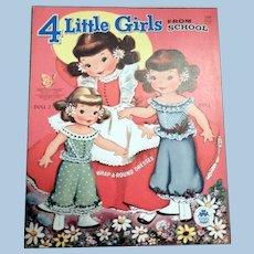 Merrill Four Little Girls From School Paper Dolls, uncut