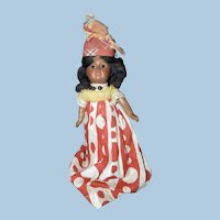 Cabinet Sized Black French West Indies Costume Doll, Unis France
