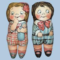 Pair of Dean's Rag Book Drayton Design Cloth Dolls