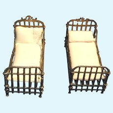 Pair of French Metal Miniature Dollhouse Beds