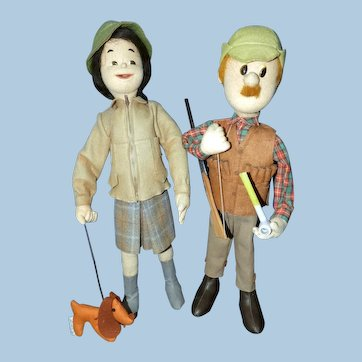 Pair Vintage 1970s Lenci Felt Character Dolls