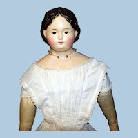 Big, Beautiful, Brown Eyed Antique Paper Mache Doll