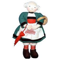 Vintage Cloth Minerve Becassine Doll