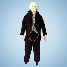 Cabinet-size Untinted Bisque (Parian) Man doll, Molded Shirt