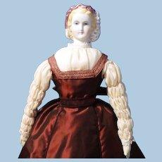 Antique German Untinted Bisque Doll, Empress Eugenie