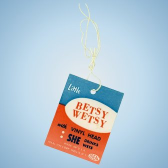 Vintage Ideal Little Betsy Wetsy Hang Tag