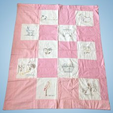 Embroidered Nursery / Doll Quilt