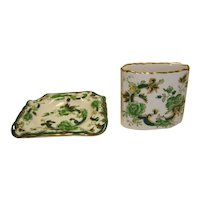 Mason's Ironstone Cigarette Holder and Ashtray - Chartreuse