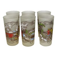 Set of 6 Hazel Atlas Currier & Ives 12 Oz. Tumblers