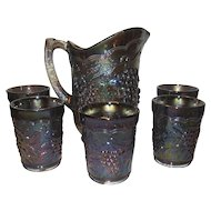 Imperial Glass Vintage Grape Pitcher and 5 Tumblers