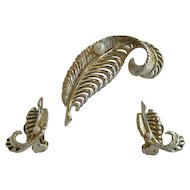Marboux Goldtone Leaf Pin and Earrings