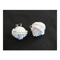 Small White Seed Bead Screwback Earrings
