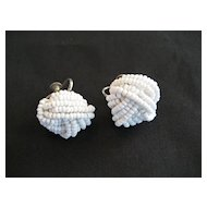 Small White Seed Bead Screwback Earrings