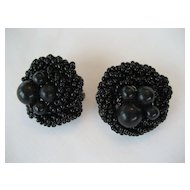 Black Beaded Clip Earrings - Japan