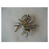 BSK Silvertone and Rhinestone Brooch